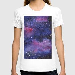 Watercolor Galaxy Nebula Pink Purple Sky Stars T-shirt