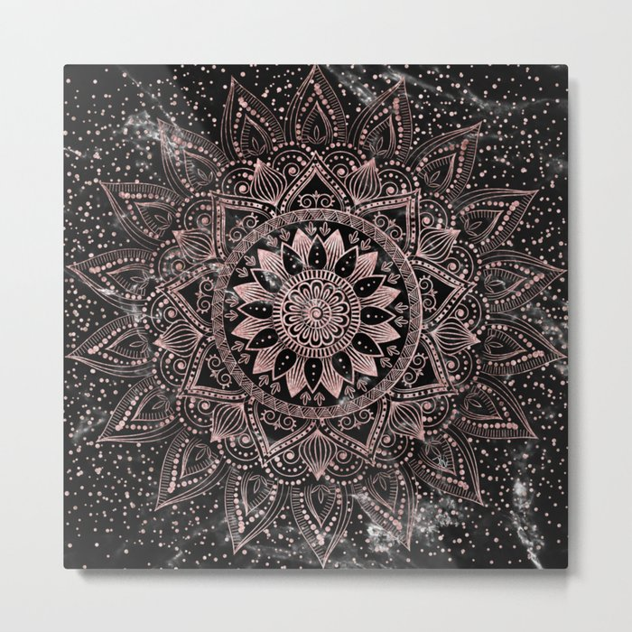 Elegant rose gold mandala dots and marble artwork Metal Print