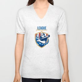 Baseball League Champions Retro Unisex V-Neck