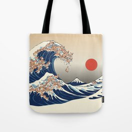 The Great Wave of Chihuahua Tote Bag