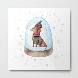 Dog Snow Globe (1) Metal Print