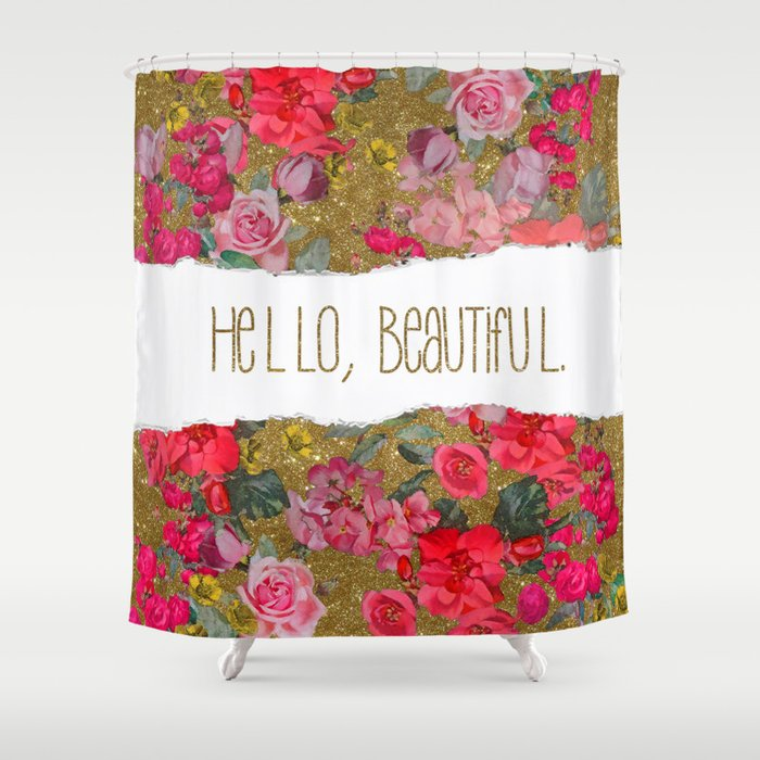 Hello Beautiful In Gold Glitter And Hot Pink Floral Shower Curtain