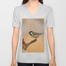 Songbird (Great Tit) on Autumn Day #decor #society6 #buyart Unisex V-Neck