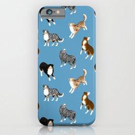 Australian Shepherd Pattern (Blue Background) iPhone Case