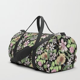 lush floral pattern with bee and beetles I Duffle Bag