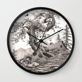 BLUE RIDGE OAK AND MY FANTASY CABIN ON THE HILL Wall Clock