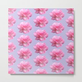 Pink Rose Pattern on Blue Metal Print