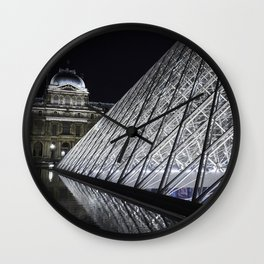 Louvre at night - vertical Wall Clock