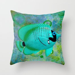 ANGEL FISH BLUE Throw Pillow