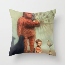 Early morning fog on Coney Island Throw Pillow