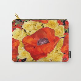 ORANGE POPPIES FLORAL & YELLOW ROSES BLACK ART Carry-All Pouch