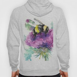 Bumblebee and Thistle Flower, honey bee floral Hoody