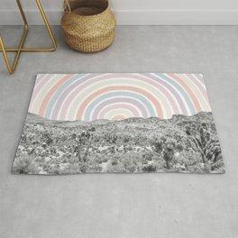 Happy Rainbow Rays // Scenic Desert Cactus Hill Landscape Watercolor Collage Dorm Room Decor Rug