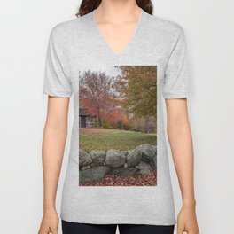Babson Museum on a rainy October day 10-24-18 Unisex V-Neck