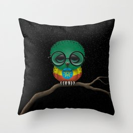 Baby Owl with Glasses and Ethiopian Flag Throw Pillow