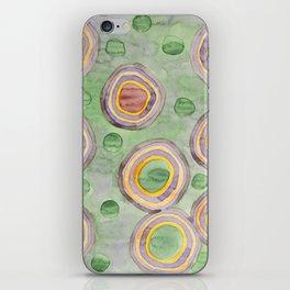 Luminous Ringed Circles on Green iPhone Skin