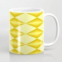 marina and the diamonds Mugs featuring Abstract golden diamonds  by Zenya Zenyaris