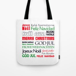 merry christmas in different languages II Tote Bag