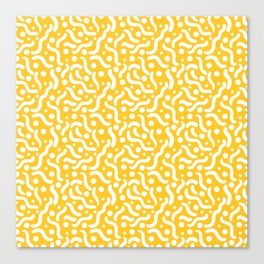 Yellow background with curves and dots. Canvas Print