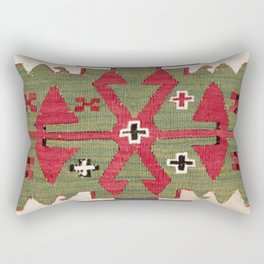 Red Diamond Arrow Konya // 19th Century Authentic Colorful Blue Green Cowboy Accent Pattern Rectangular Pillow