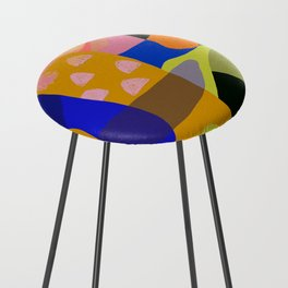 Shapes and Layers no.20 - Abstract painting olive green blue orange black Counter Stool