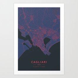 Cagliari, Italy - Neon Art Print