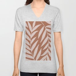 Abstract Pink Leaves Unisex V-Neck