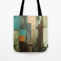 shapes Tote Bags featuring ESCAPE ROUTE by Liz Brizzi