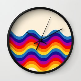 Wavy retro rainbow Wall Clock