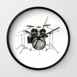 Black Drum Kit Wall Clock