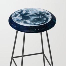 Full Moon Mixed Media Painting Bar Stool