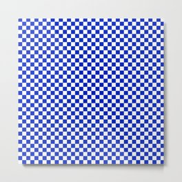 Small Cobalt Blue and White Checkerboard Pattern Metal Print