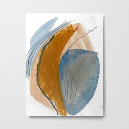 Gentle Breeze: a minimal, abstract mixed-media piece in blues and tans by Alyssa Hamilton Art Metal Print