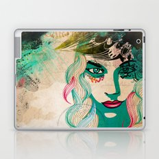 floral girl illustration Laptop & iPad Skin