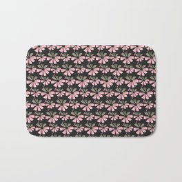 Daisies In The Summer Breeze - Pink Grey Black Bath Mat