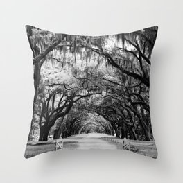 Spanish Moss on Southern Live Oak Trees black and white photograph / black and white art photography Throw Pillow