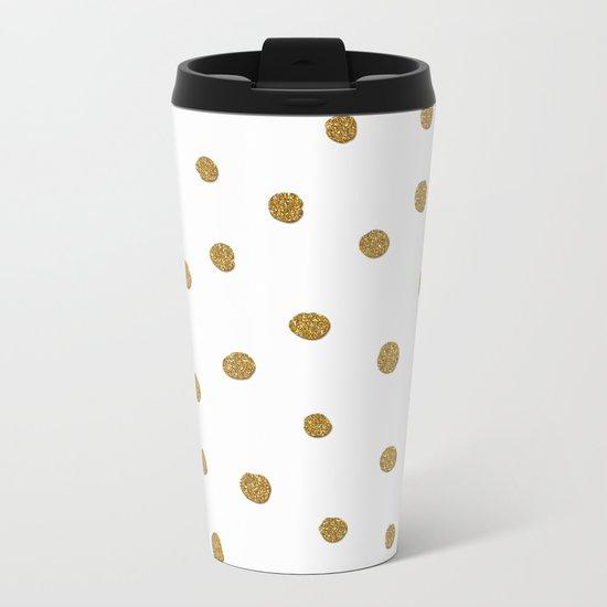 Golden touch II - Gold glitter polkadots Metal Travel Mug