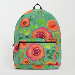 Colorful Watercolor Spring Flower Pattern Backpack