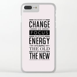 Lab No. 4 The Secret Of Change Socrates Life Motivational Quote Clear iPhone Case