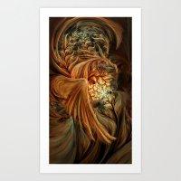 phoenix Art Prints featuring Phoenix by SensualPatterns