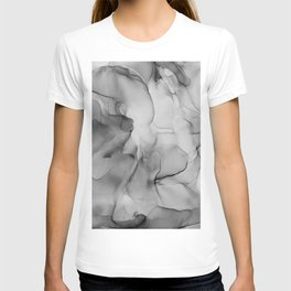 Black and White Marble Ink Abstract Painting T-shirt