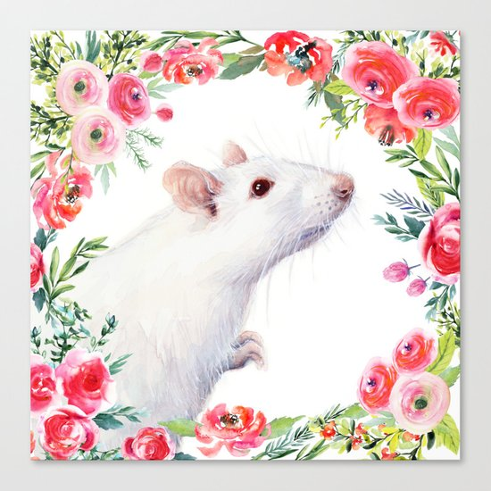 White Rat with Flowers Watercolor Floral Pattern Animal Canvas Print