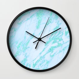 Teal Marble - Shimmery Glittery Turquoise Blue Sea Green Marble Metallic Wall Clock