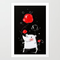 mouse Art Prints featuring mouse  by Katja Main