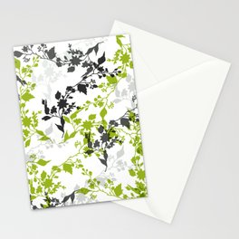 Branches and Leaves in Green Gray and Black on White Stationery Cards