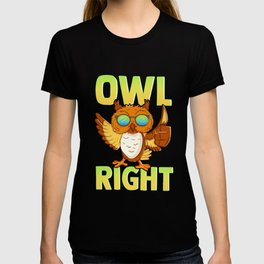 Funny Owl Right Thumbs Up Hippie Cute Alright Pun T-shirt