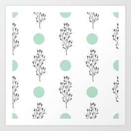 Black brunches & green dots pattern Art Print