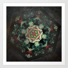 Dark forest mosaic kaleidoscope Art Print