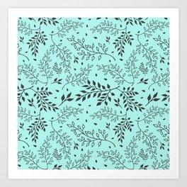 Leaves Illustrated Mint Art Print