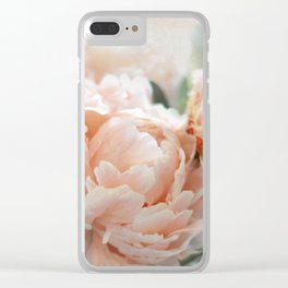 Peach Peonies Clear iPhone Case